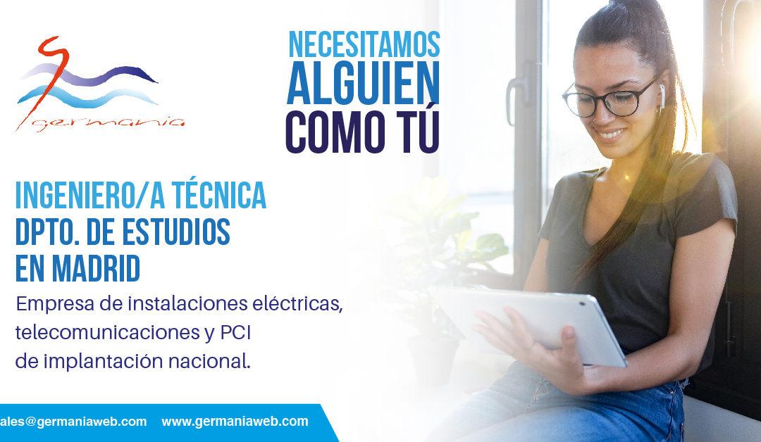 Oferta de empleo: Ingeniería Técnica para departamento de estudios en Madrid